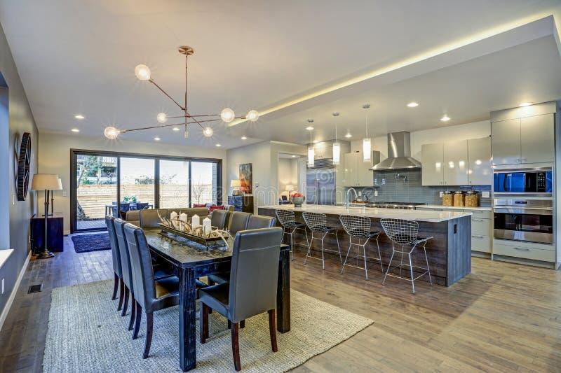 Stanza moderna della cucina con l 39 isola e l 39 area pranzante for Stanza da pranzo moderna