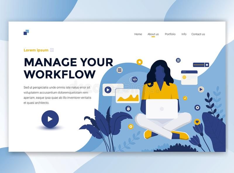 Progettazione moderna piana del modello del wesite - diriga il vostro flusso di lavoro illustrazione di stock