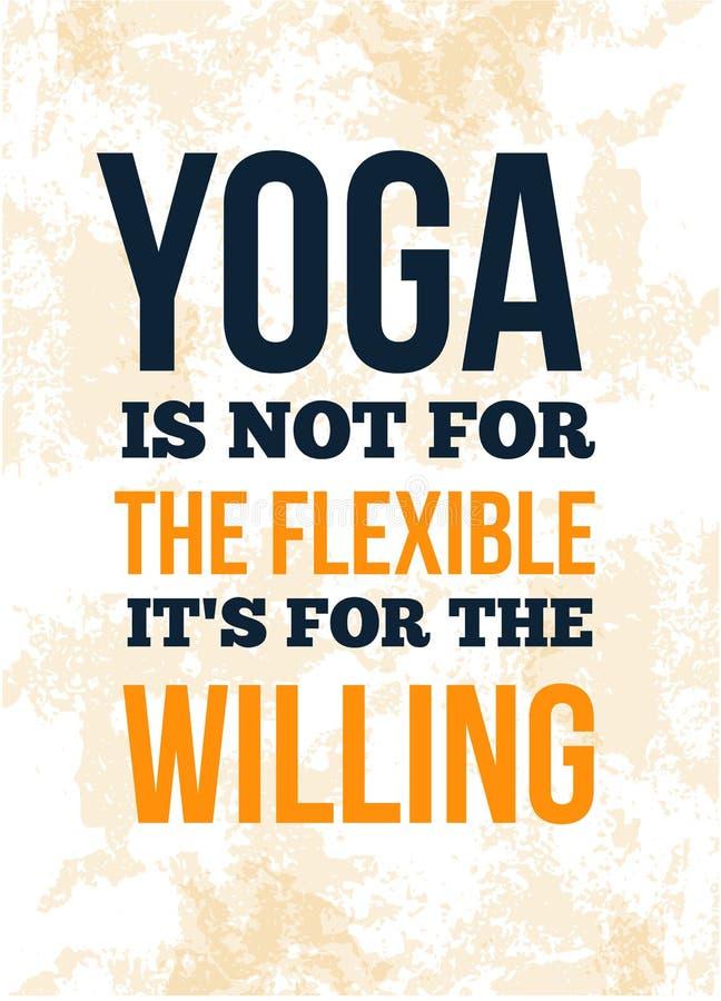 Progettazione motivazionale del manifesto di citazione di yoga cartolina, carta per il salone della stazione termale illustrazione vettoriale