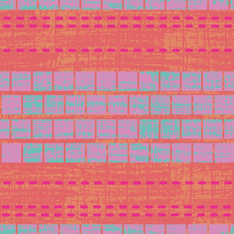 Progettazione multicolore geometrica tropicale del punto e del mosaico con struttura di lerciume sul fondo strutturato di lercium royalty illustrazione gratis