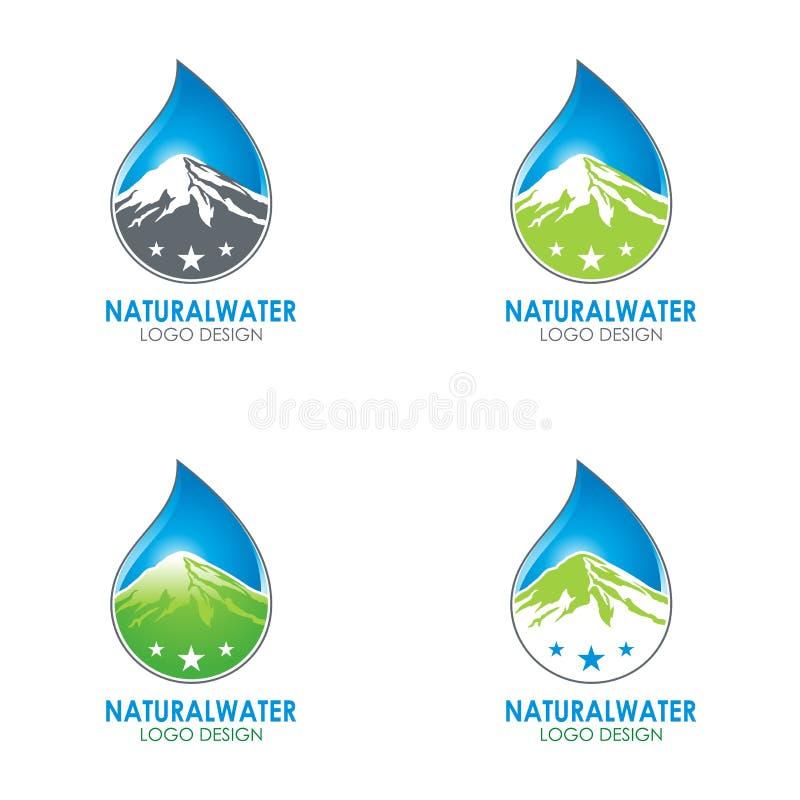 Progettazione naturale di logo dell'acqua con l'illustrazione della montagna e della goccia di acqua illustrazione vettoriale