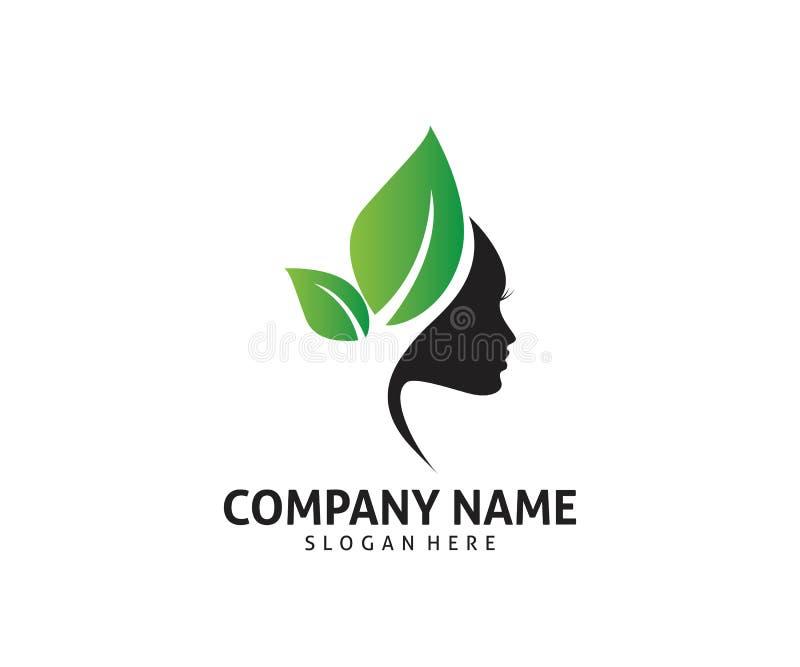 progettazione naturale sana di logo dell'icona di vettore di cura di trattamento di bellezza delle donne illustrazione di stock