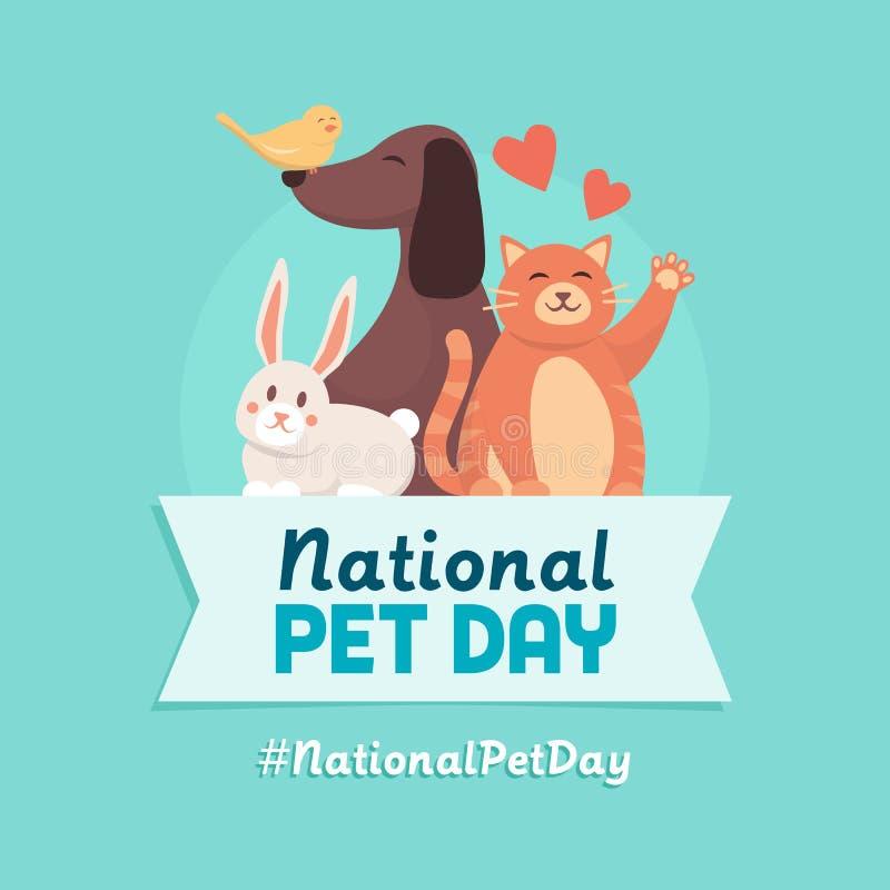 Progettazione nazionale di festa di giorno dell'animale domestico royalty illustrazione gratis