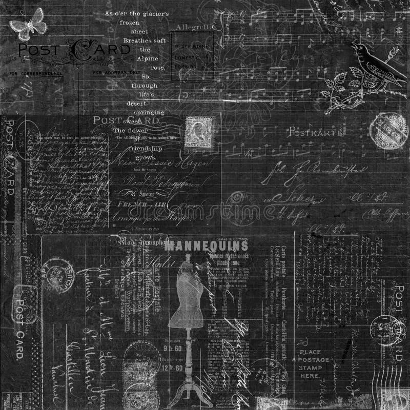 Progettazione nera d'annata Grungy del fondo del collage della lavagna royalty illustrazione gratis