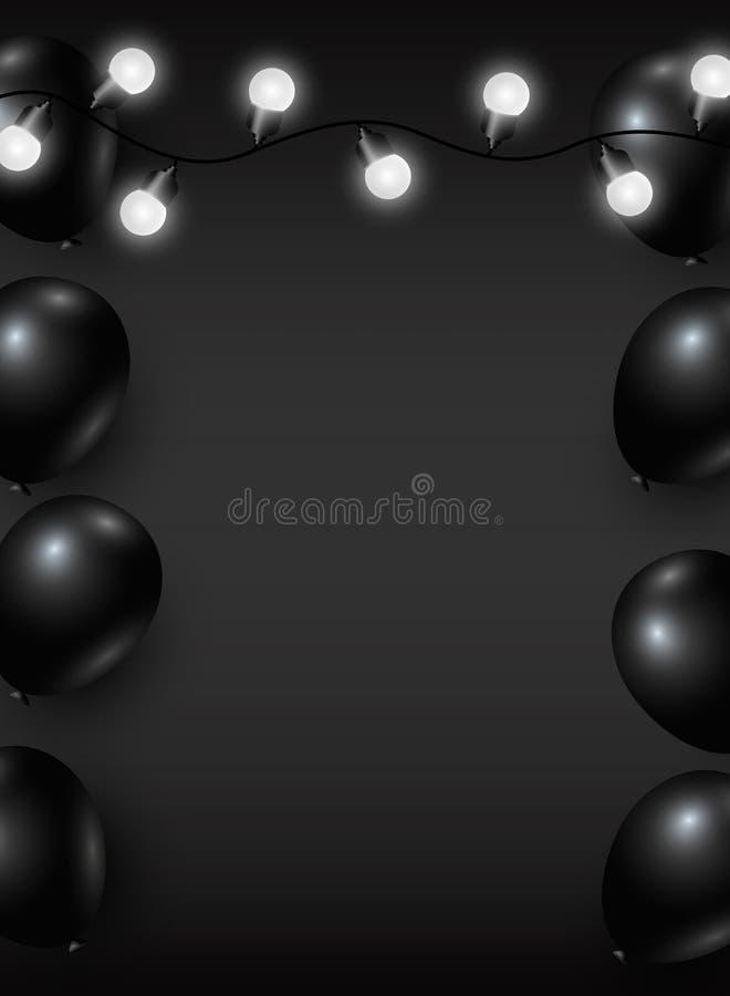 Progettazione nera del fondo di venerdì di vettore del pallone e della lampadina illustrazione di stock