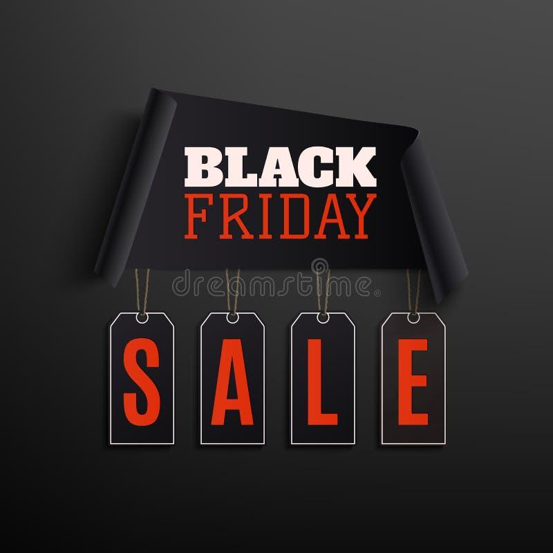 Progettazione nera dell'estratto di vendita di venerdì su fondo nero royalty illustrazione gratis