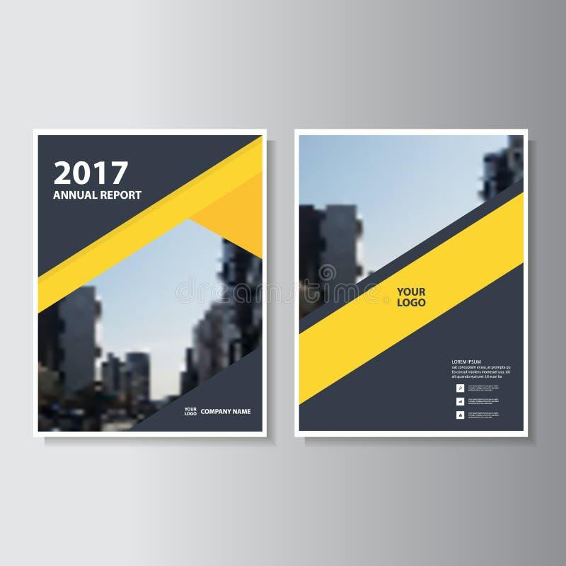 Progettazione nera gialla del modello dell'aletta di filatoio dell'opuscolo dell'opuscolo del rapporto annuale di vettore, proget royalty illustrazione gratis