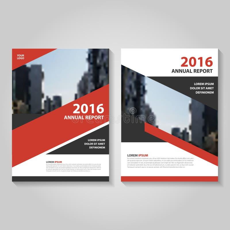Progettazione nera rossa del modello dell'aletta di filatoio dell'opuscolo dell'opuscolo del rapporto annuale di vettore, progett illustrazione di stock