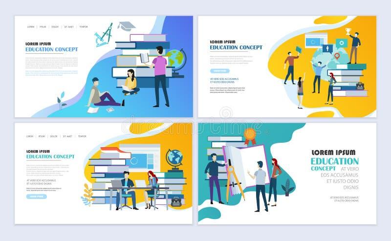 Progettazione online della pagina Web di istruzione illustrazione vettoriale