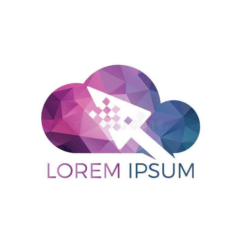 Progettazione online di logo del cursore e della nuvola Progettazione di logo della freccia e della nuvola del pixel royalty illustrazione gratis
