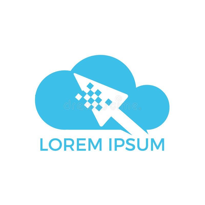 Progettazione online di logo del cursore e della nuvola Progettazione di logo della freccia e della nuvola del pixel illustrazione di stock