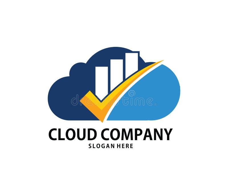 Progettazione online di logo di stoccaggio della nuvola della nuvola del segno di spunta di scopo di finanza di vettore royalty illustrazione gratis