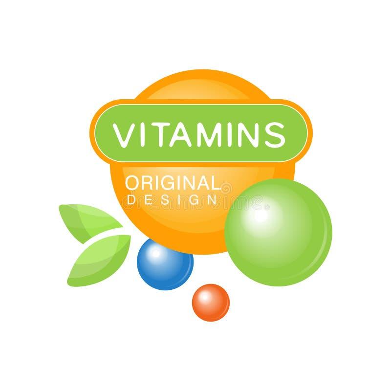 Progettazione originale del modello variopinto di logo delle vitamine, supplemento di erbe, illustrazione naturale di vettore del royalty illustrazione gratis