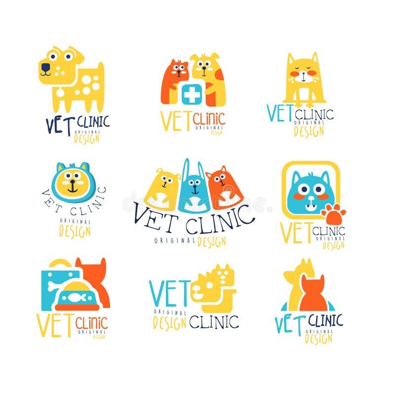 Progettazione originale dell'etichetta della clinica del veterinario, illustrazioni disegnate a mano variopinte di vettore royalty illustrazione gratis