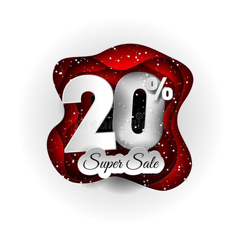 Progettazione originale dell'insegna di vendita 20% bianca e rosso e neve Stile di carta del mestiere di arte illustrazione di stock