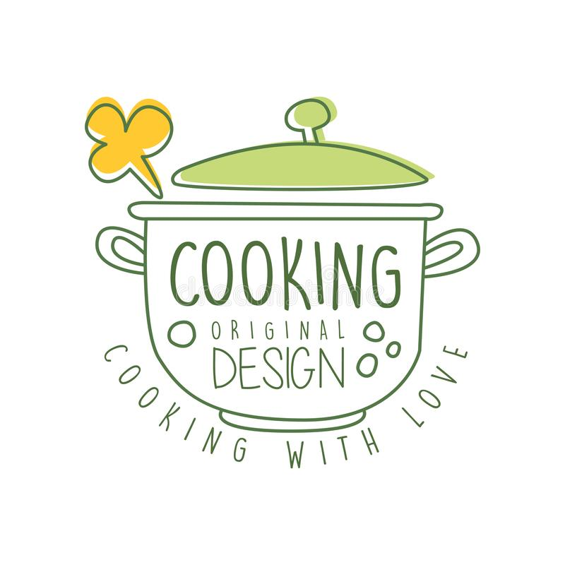 Progettazione originale di logo culinario disegnato a mano astratto con la casseruola e cucinare con l'iscrizione di amore Linea  royalty illustrazione gratis