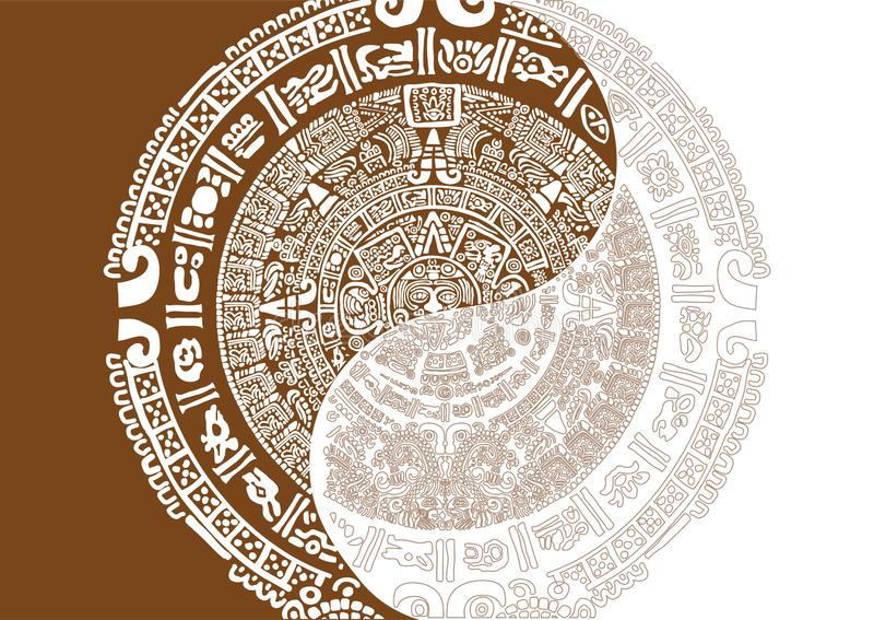 Progettazione originale per il tema del calendario di maya immagini stock