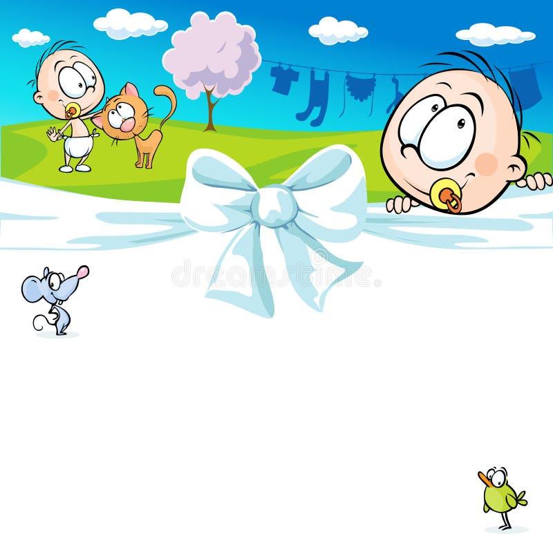 Progettazione orizzontale con un bambino e gli animali - vettore allegro illustrazione di stock