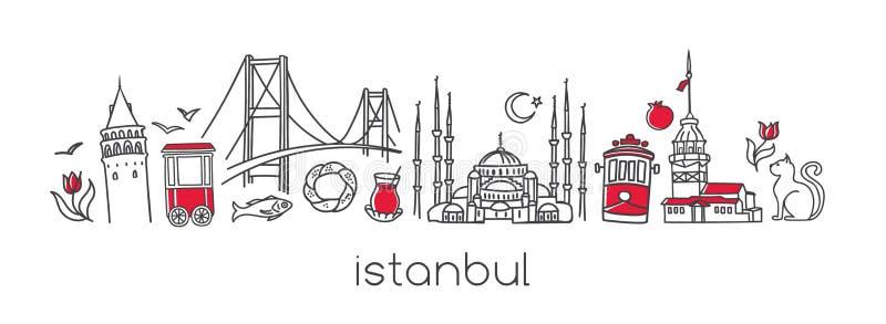 Progettazione orizzontale dell'insegna di vettore con i simboli famosi di Costantinopoli royalty illustrazione gratis