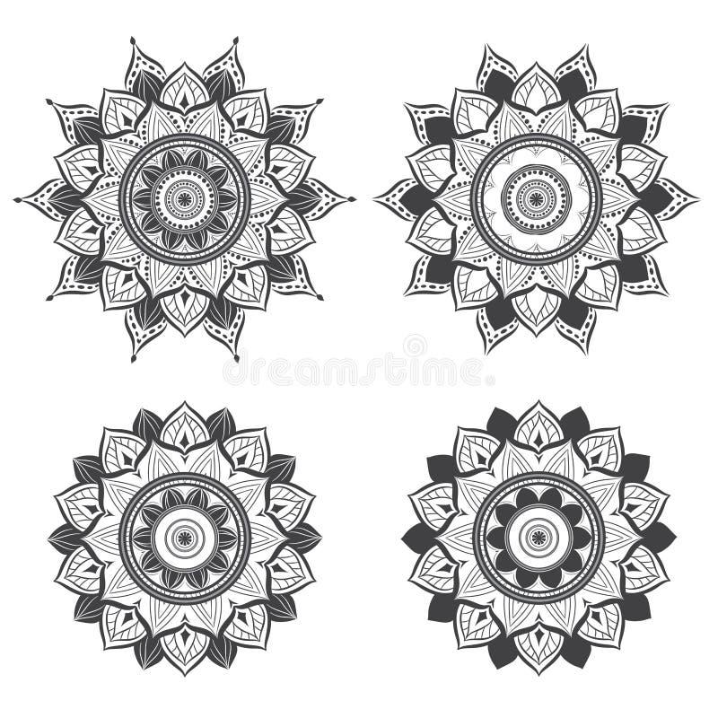 Progettazione ornamentale d'annata e di lusso della mandala , Mandala in bianco e nero fotografia stock