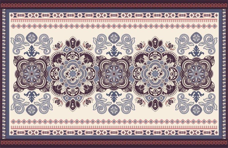 Progettazione ornamentale variopinta di vettore per la coperta, tappeto, tapis Coperta persiana, tessuto Contesto floreale geomet illustrazione vettoriale