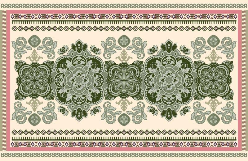 Progettazione ornamentale variopinta di vettore per la coperta, tappeto, tapis Coperta persiana, tessuto Contesto floreale geomet illustrazione di stock
