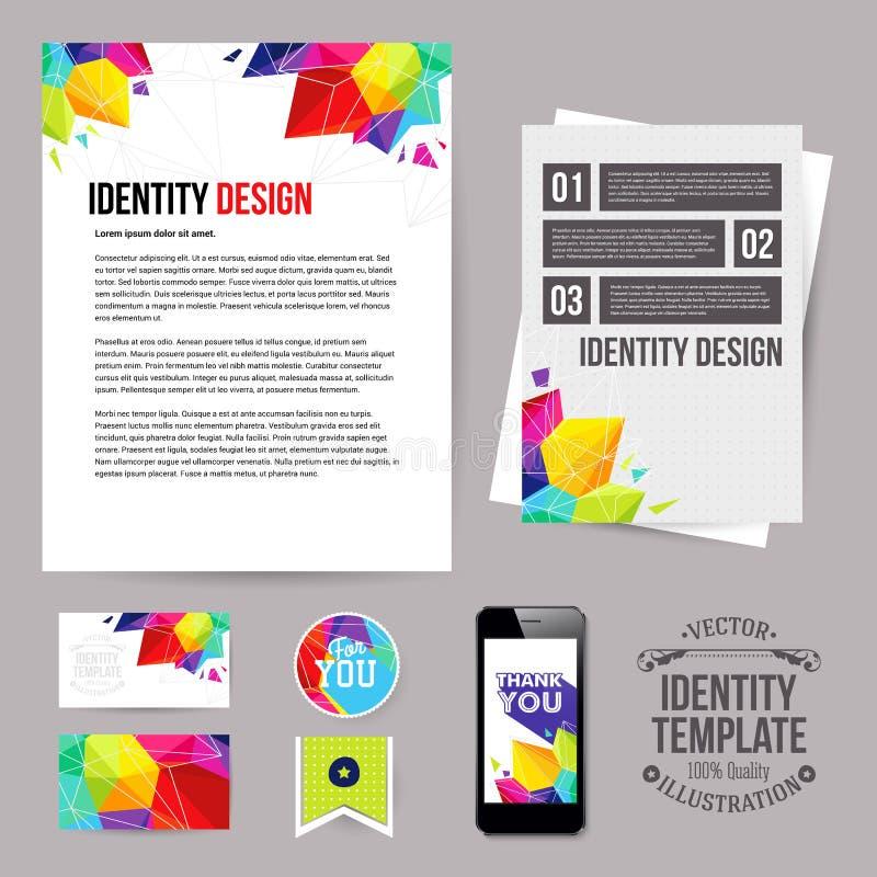 Progettazione per il vostro affare, stile geometrico di identità Insieme dello spazio in bianco royalty illustrazione gratis
