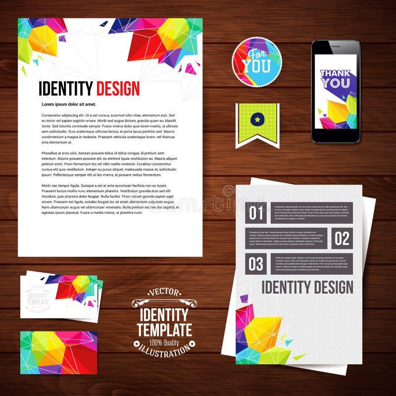 Progettazione per il vostro affare, stile geometrico di identità Insieme dello spazio in bianco illustrazione di stock