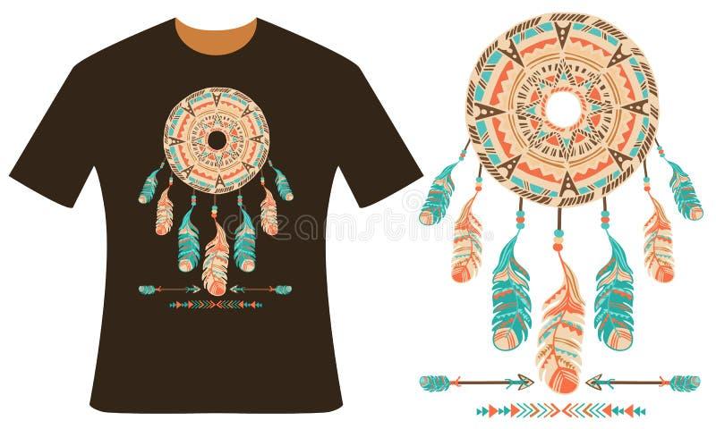 Progettazione per la vostra maglietta Dreamcatcher royalty illustrazione gratis