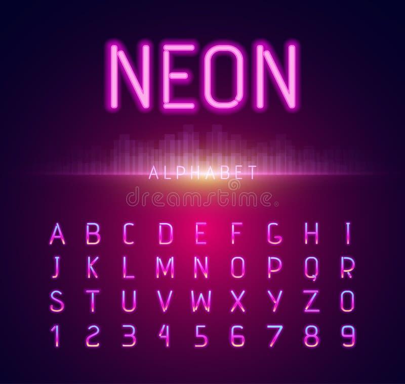 Progettazione piana al neon di stile di alfabeto illustrazione vettoriale