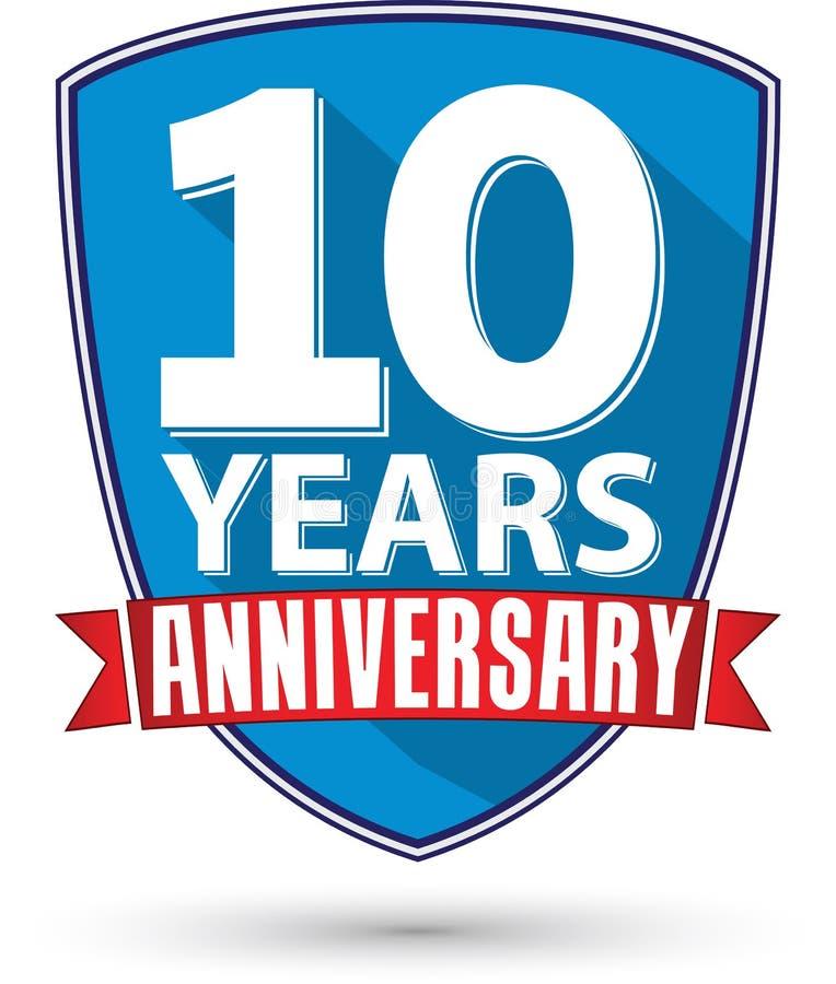 Progettazione piana 10 anni di etichetta con il nastro rosso, vettore i di anniversario royalty illustrazione gratis