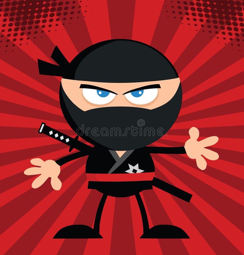 Progettazione piana arrabbiata di Ninja Warrior Cartoon Character illustrazione di stock