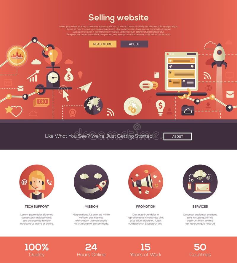 Progettazione piana che vende l'insegna di intestazione del sito Web con gli elementi del webdesign illustrazione vettoriale