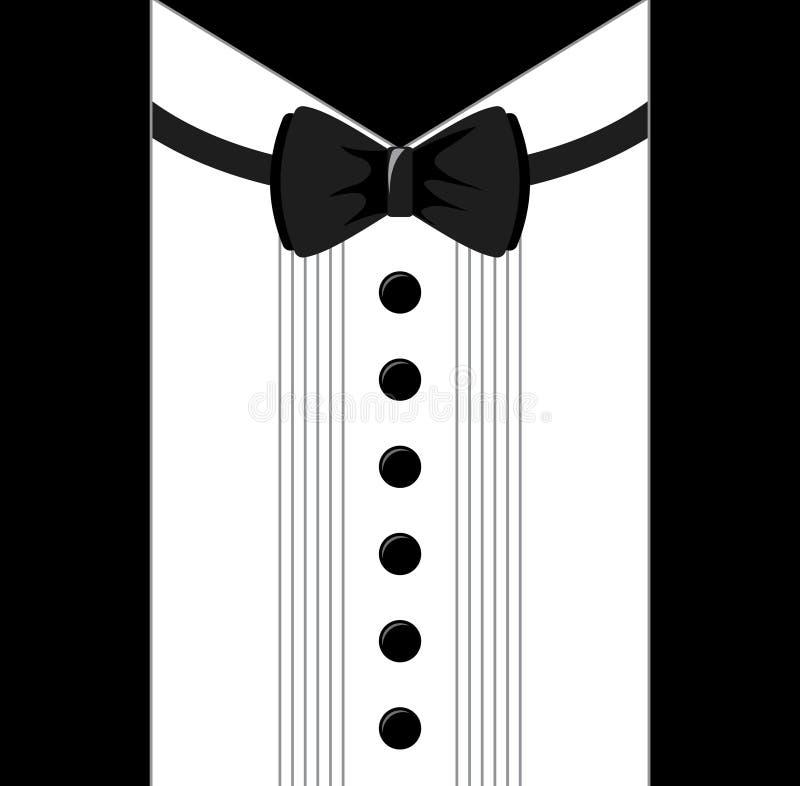 Progettazione piana colorata di vettore Smoking in bianco e nero del farfallino illustrazione di stock