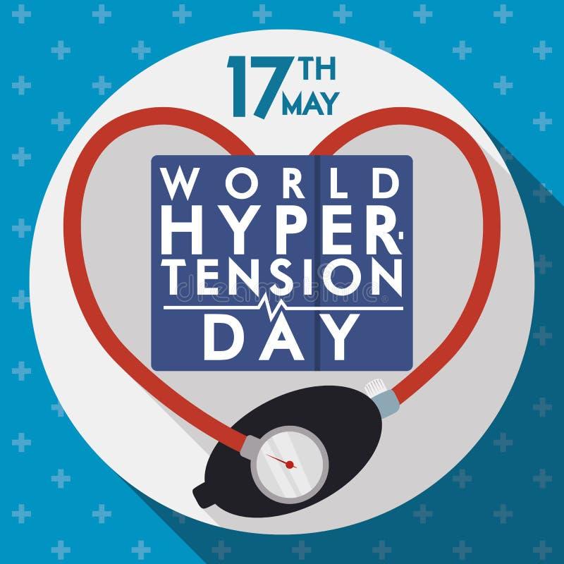 Progettazione piana commemorativa per il giorno di ipertensione del mondo illustrazione di stock