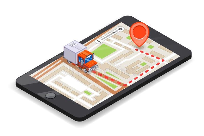 Progettazione piana d'inseguimento del camion del app 3d di consegna mobile logistica di Smartphone del perno della mappa stradal illustrazione vettoriale