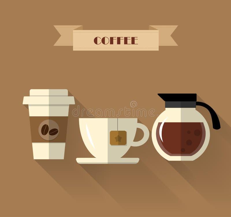 Progettazione piana del caffè illustrazione di stock