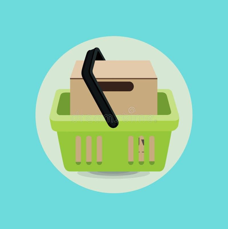 Progettazione piana del cestino della spesa e della scatola di cartone illustrazione vettoriale