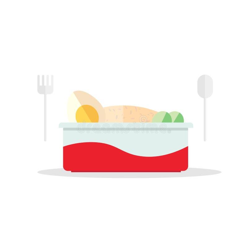 Progettazione piana del contenitore di alimenti a rapida preparazione con il cucchiaio e le gente di plastica Pasto rapido pronto illustrazione vettoriale