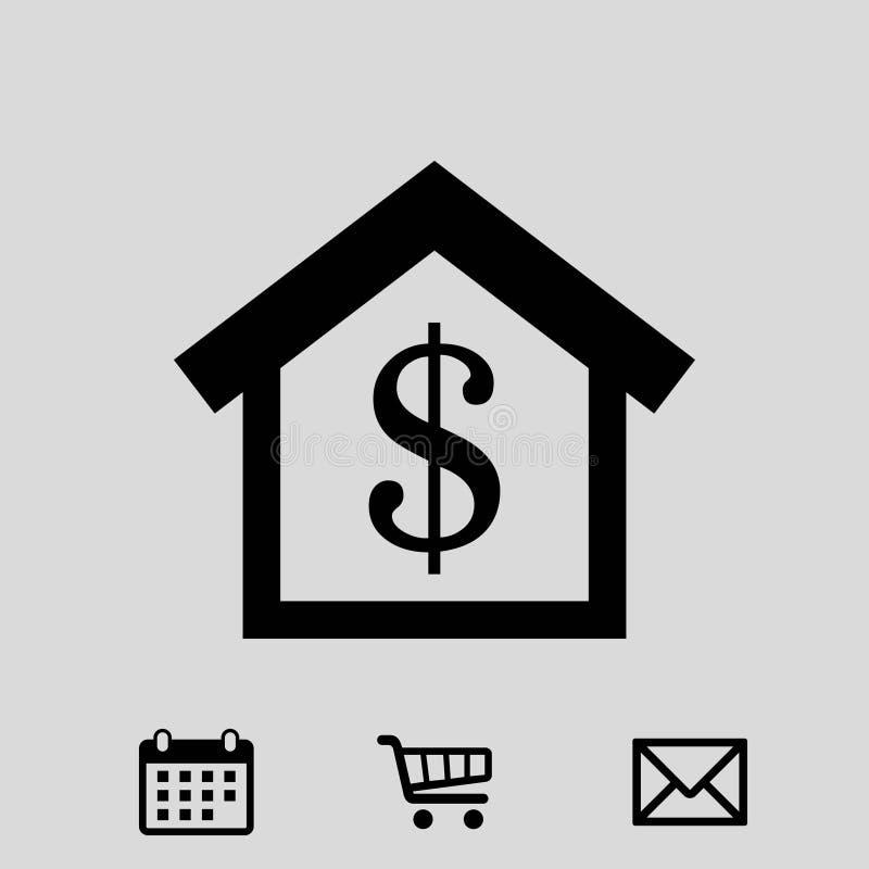 Progettazione piana del dollaro dei soldi dell'icona delle azione dell'illustrazione domestica di vettore royalty illustrazione gratis