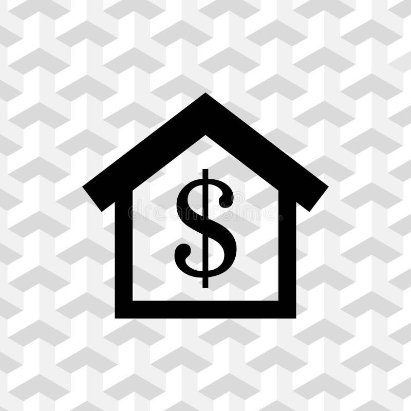 Progettazione piana del dollaro dei soldi dell'icona delle azione dell'illustrazione domestica di vettore illustrazione vettoriale