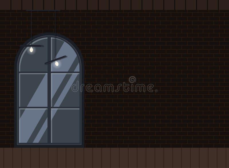 Progettazione piana del fondo industriale interno scuro del sottotetto illustrazione di stock