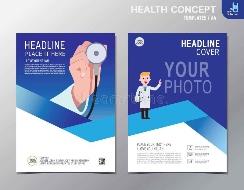 Progettazione piana del fumetto di vettore di salute di affari opuscolo del fondo dell'insegna illustrazione di stock