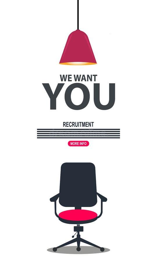 Progettazione piana del lavoro che assume per l'occupazione Esprimendo vi abbiamo bisogno sulla sedia mobilia Vettore Illustrazio illustrazione vettoriale