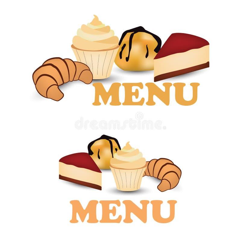 Progettazione piana del muffin, di Profiterole, del croissant e della torta di formaggio isolati su fondo bianco Illustrazione di royalty illustrazione gratis