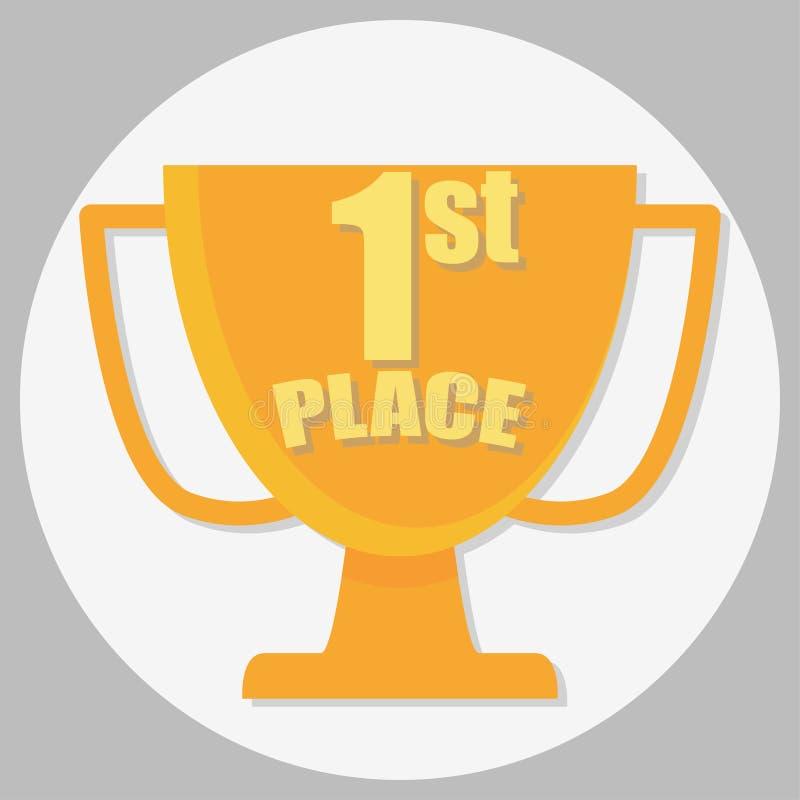 progettazione piana del primo del posto vincitore della tazza dorata illustrazione vettoriale