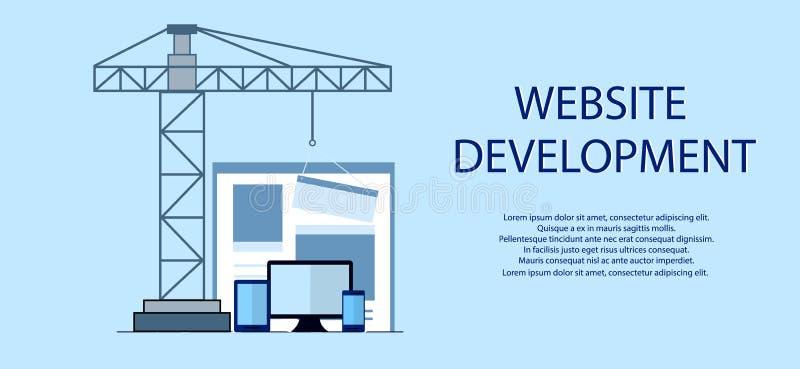 Progettazione piana del sito Web in costruzione, processo di costruzione della pagina Web, disposizione di form del sito di svilu royalty illustrazione gratis