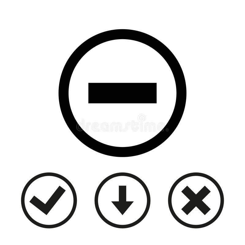 Progettazione piana dell'icona delle azione dell'illustrazione negativa di vettore illustrazione di stock