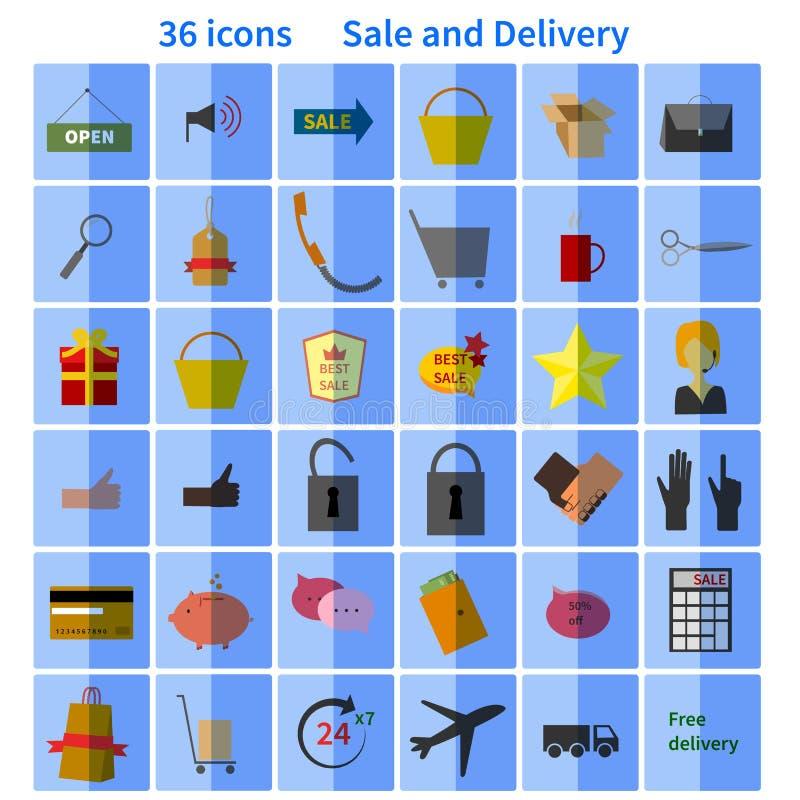 progettazione piana dell'icona stabilita di vendita illustrazione di stock