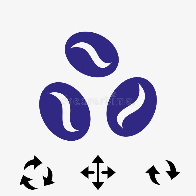 Progettazione piana dell'illustrazione di vettore delle azione dell'icona dei chicchi di caffè illustrazione di stock